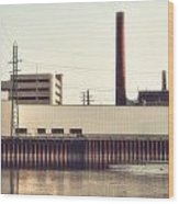 Old Bergstom Smokestack Wood Print