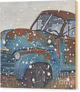 Old Blue Chevy Winter Storm Wood Print