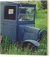 Old Blue Ford Truck Wood Print