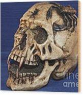 Old Bone's Skull On Blue Cloth Wood Print