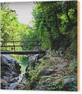 Old Bridge  In The Mountain Wood Print by Radoslav Nedelchev