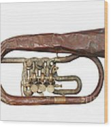 Old Broken Trumpet - Isolated Wood Print