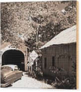 Old Car Older Barn Oldest Bridge Wood Print