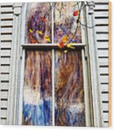 Old Carpenter Gothic Style Church Window In Wv Fall Wood Print
