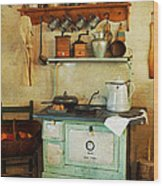 Old Cast Iron Cook Stove Wood Print by Carmen Del Valle