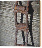 Old Chain And Barn Wood Wood Print