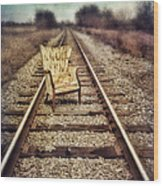 Old Chair On Railroad Tracks Wood Print