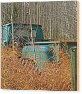 Old Chevy In The Field Wood Print