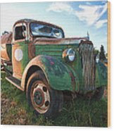 Old Chevy Tanker Truck Wood Print