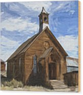 Old Church At Bodie Wood Print