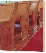 Old Church Pews Wood Print by LeeAnn McLaneGoetz McLaneGoetzStudioLLCcom
