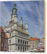 Old City Hall Clock Tower - Posnan Poland Wood Print