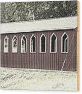 Old Color Covered Bridge Wood Print