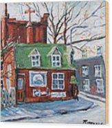 Old Corner Store Montreal By Prankearts Wood Print