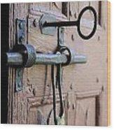 Old Door Of Wood With Its Worn Lock Wood Print by Bernard Jaubert
