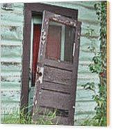 Old Door On Rustic Alaska Cabin Wood Print