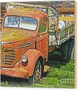 Old Dumptruck On Brick Background-ca Wood Print