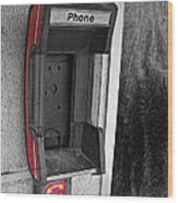 Old Empty Phone Booth Wood Print