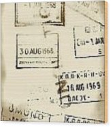 Old Entry And Exit Travel Stamps Wood Print