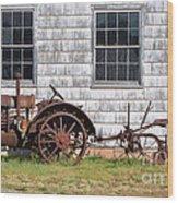 Old Farm Equipment Wood Print
