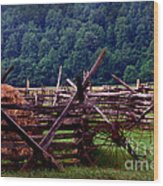 Old Farm Hay Rake Wood Print