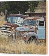 Old Farm Trucks Wood Print