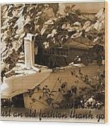 Old Fashion Thank You Card Wood Print