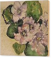 Old-fashioned African Violets Wood Print