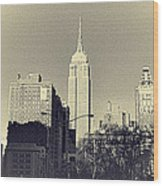Old-fashioned Empire State Building Wood Print
