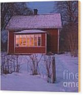 Old-fashioned House At Sunset In Winter Wood Print