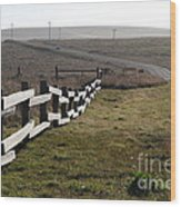 Old Fence And Landscape Along Sir Francis Drake Boulevard At Point Reyes California . 7d9897 Wood Print by Wingsdomain Art and Photography