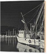 Old Fishing Boat At Texas Gulf Coast Wood Print