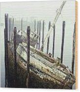 Old Fishing Boat No Longer In Use At Wood Print