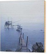 Old Fishing Platform At Dusk Wood Print by Axiom Photographic