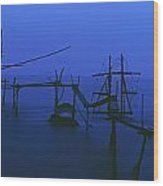Old Fishing Platform Over Water At Dusk Wood Print by Axiom Photographic