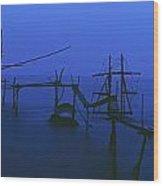 Old Fishing Platform Over Water At Dusk Wood Print