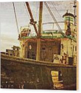 Old Fishing Trawler Wood Print