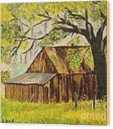 Old Florida Farm Shed Wood Print by Bill Hubbard