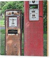 Old Gas Station Pumps Wood Print