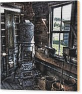 Old Ghost Town Stove - Molson Washington Wood Print
