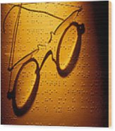 Old Glasses On Braille  Wood Print