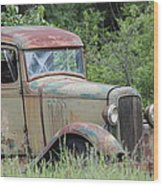 Abandoned Truck In Field Wood Print