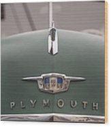 Old Green Plymouth Wood Print