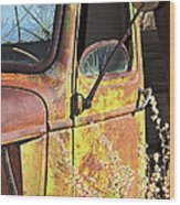 Old Green Truck Door Wood Print