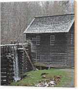 Old Grist Mill With Snow Wood Print