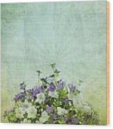 Old Grunge Paper Flowers Pattern Wood Print