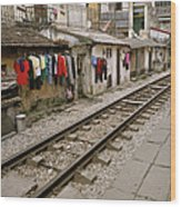 Old Hanoi By The Tracks Wood Print