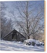 Old Hay Barn In Deep Snow Wood Print