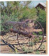 Old Hay Rake Wood Print