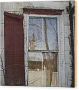 Old House Red Shutter 1 Wood Print